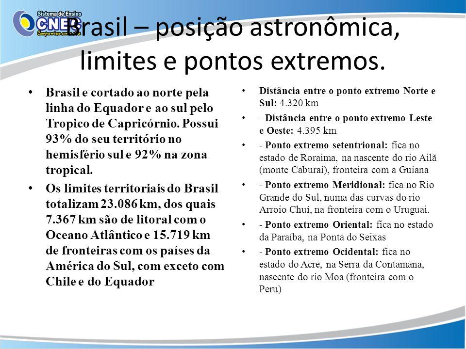 Brasil – posição astronômica, limites e pontos extremos. Brasil e cortado ao norte pela linha do Equador e ao sul pelo Tropico de Capricórnio. Possui