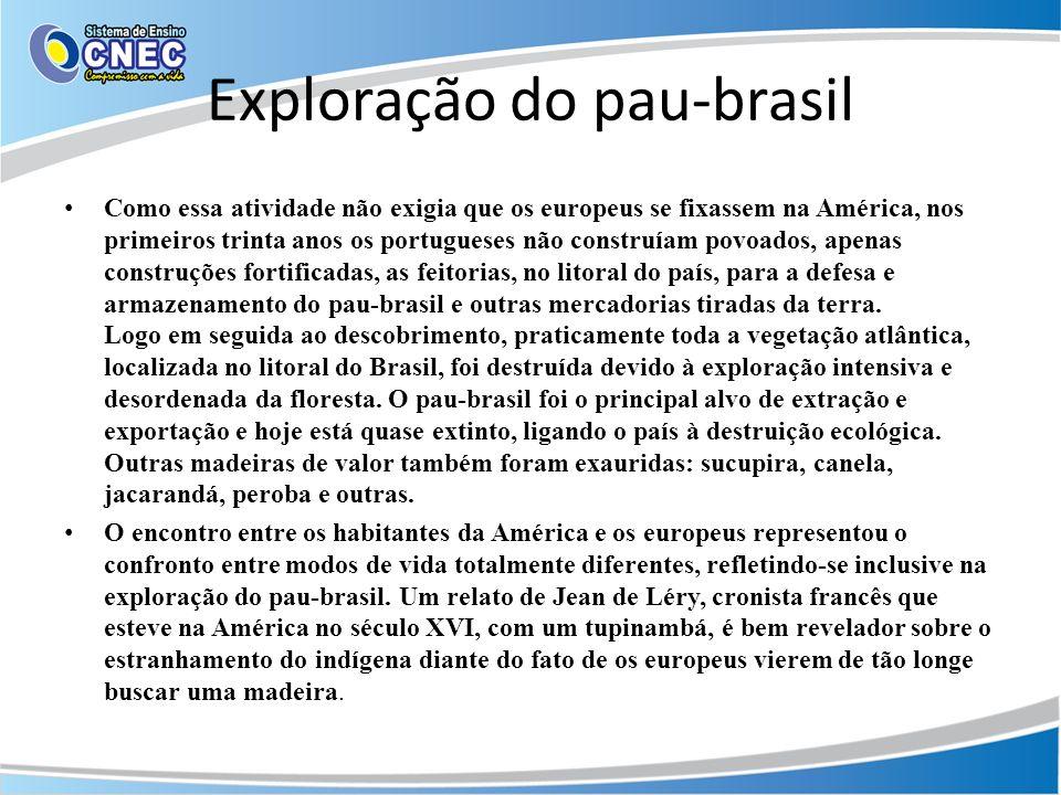 Exploração do pau-brasil Como essa atividade não exigia que os europeus se fixassem na América, nos primeiros trinta anos os portugueses não construía