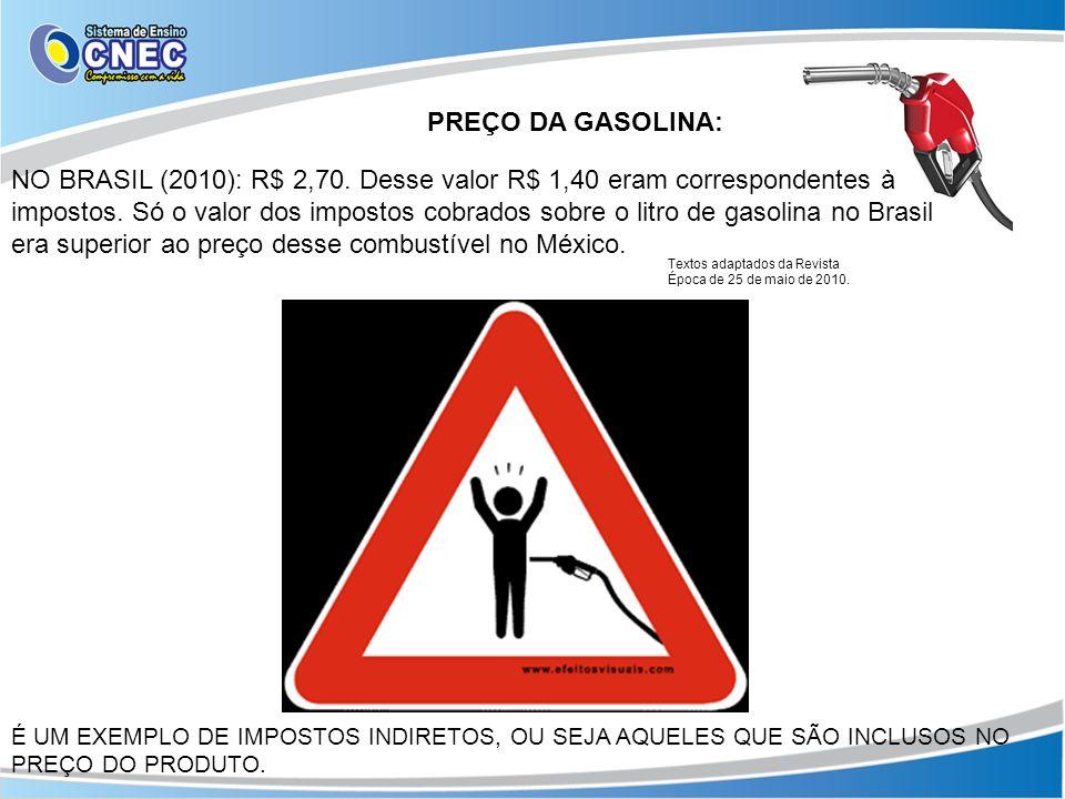 PREÇO DA GASOLINA: NO BRASIL (2010): R$ 2,70. Desse valor R$ 1,40 eram correspondentes à impostos. Só o valor dos impostos cobrados sobre o litro de g