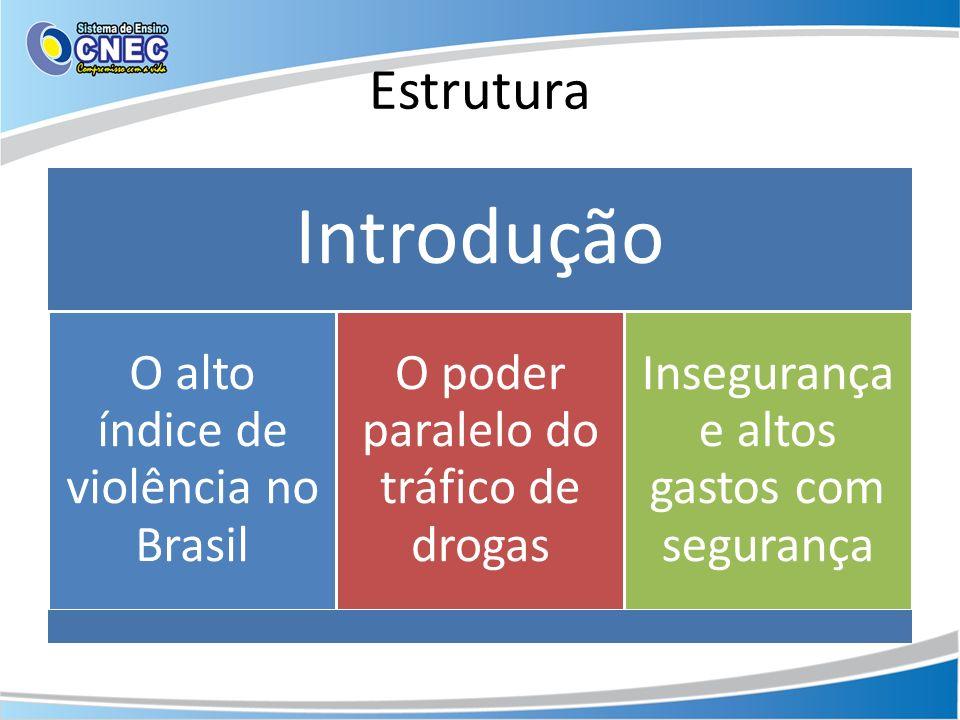 Estrutura Introdução O alto índice de violência no Brasil O poder paralelo do tráfico de drogas Insegurança e altos gastos com segurança