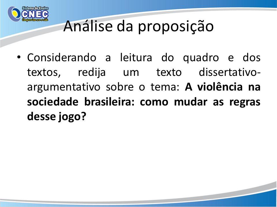 Análise da proposição Considerando a leitura do quadro e dos textos, redija um texto dissertativo- argumentativo sobre o tema: A violência na sociedade brasileira: como mudar as regras desse jogo?