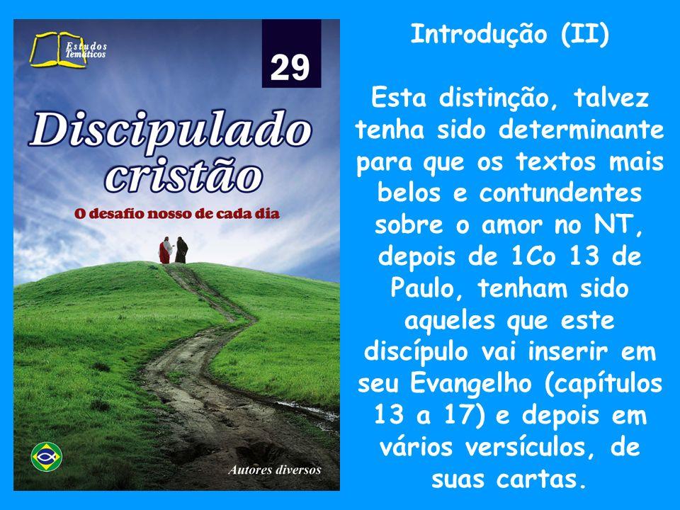 Introdução (III) Vamos ver e ler a inspiração que nos traz em seus textos no Evangelho: João 3.16 João 13.1 João 13.34 João 14.23 João 15.9,10 João 15.12,13 João 17.24-26 João 19.26-27