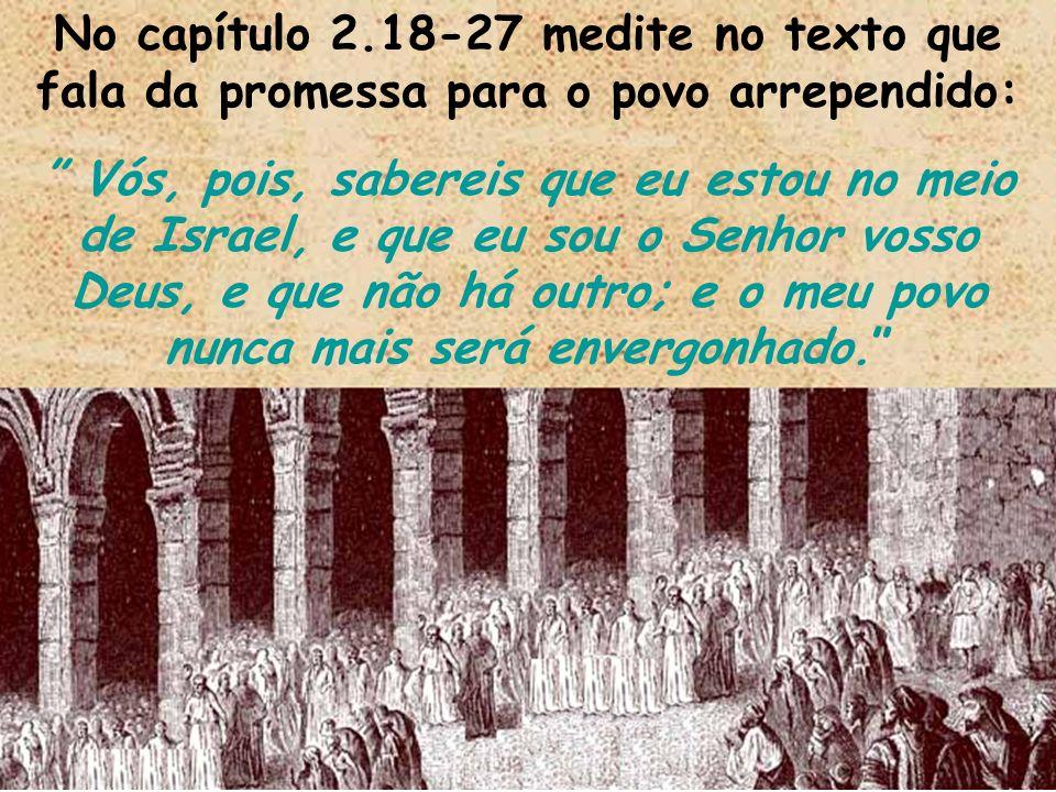 No capítulo 2.18-27 medite no texto que fala da promessa para o povo arrependido: Vós, pois, sabereis que eu estou no meio de Israel, e que eu sou o S