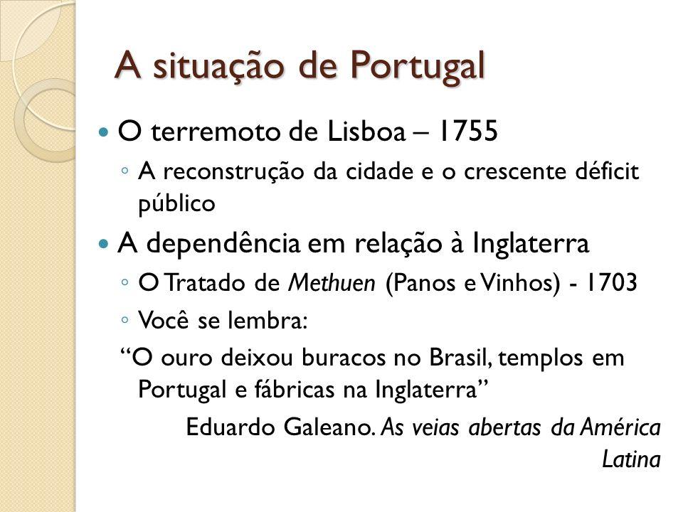A situação de Portugal O terremoto de Lisboa – 1755 A reconstrução da cidade e o crescente déficit público A dependência em relação à Inglaterra O Tra