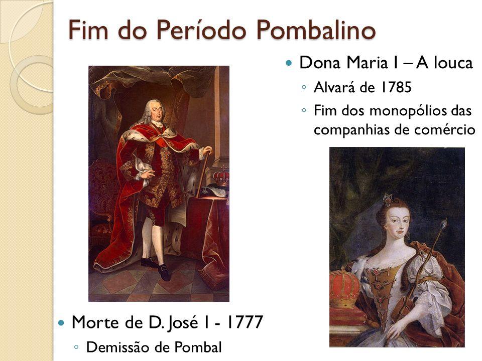 Fim do Período Pombalino Morte de D. José I - 1777 Demissão de Pombal Dona Maria I – A louca Alvará de 1785 Fim dos monopólios das companhias de comér