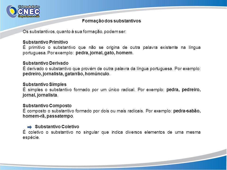 Formação dos substantivos Os substantivos, quanto à sua formação, podem ser: Substantivo Primitivo É primitivo o substantivo que não se origina de outra palavra existente na língua portuguesa.