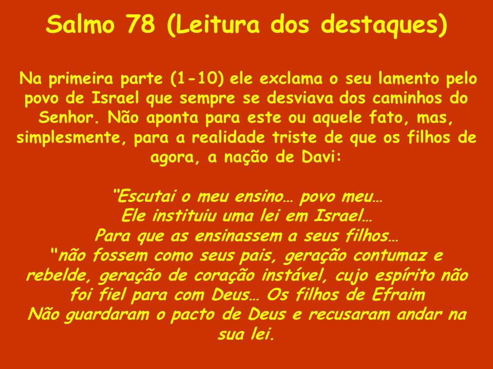 Salmo 78 (Leitura dos destaques) Na primeira parte (1-10) ele exclama o seu lamento pelo povo de Israel que sempre se desviava dos caminhos do Senhor.