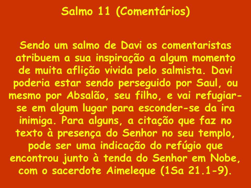 Salmo 11 (Comentários) Sendo um salmo de Davi os comentaristas atribuem a sua inspiração a algum momento de muita aflição vivida pelo salmista. Davi p