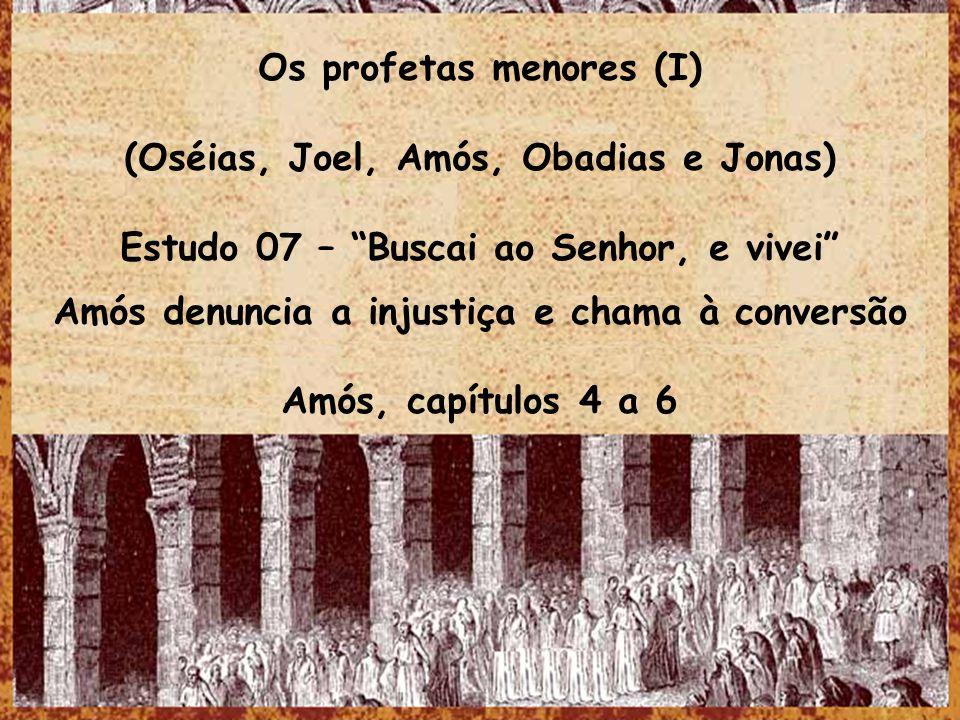 Os profetas menores (I) (Oséias, Joel, Amós, Obadias e Jonas) Estudo 07 – Buscai ao Senhor, e vivei Amós denuncia a injustiça e chama à conversão Amós