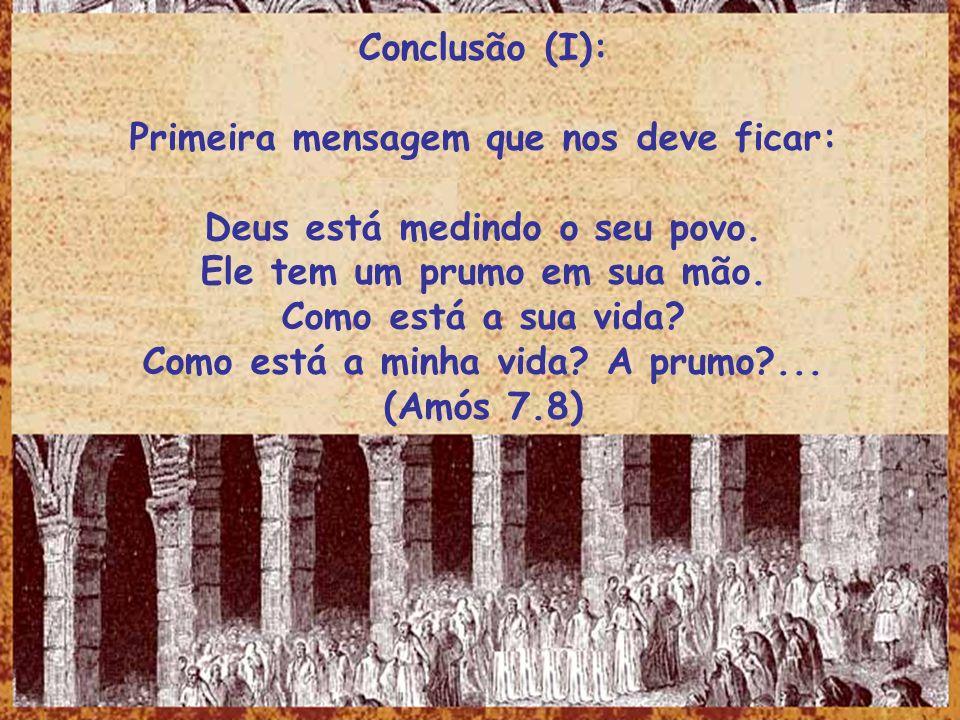 Conclusão (I): Primeira mensagem que nos deve ficar: Deus está medindo o seu povo. Ele tem um prumo em sua mão. Como está a sua vida? Como está a minh