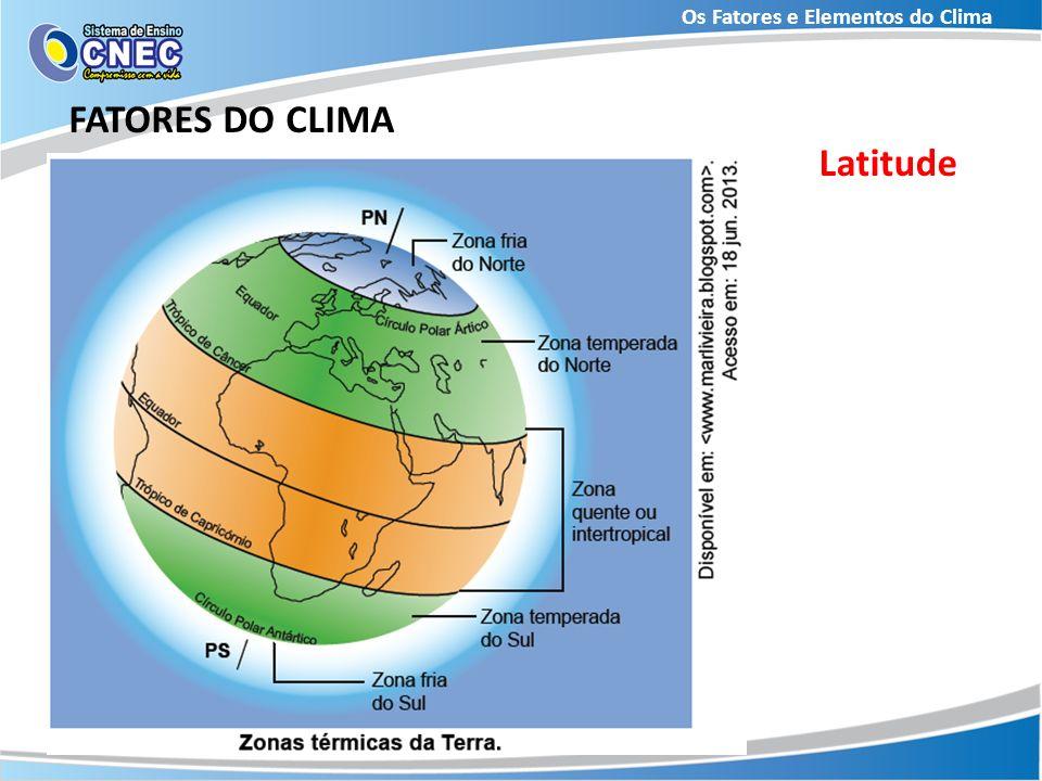 Os Fatores e Elementos do Clima FATORES DO CLIMA Latitude