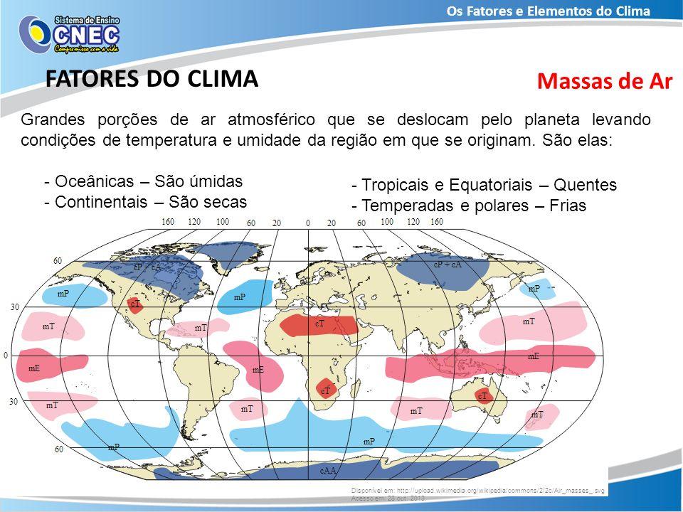 Os Fatores e Elementos do Clima FATORES DO CLIMA Massas de Ar Grandes porções de ar atmosférico que se deslocam pelo planeta levando condições de temp