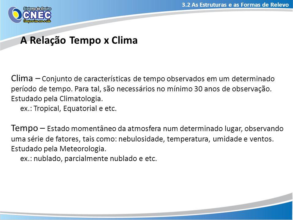 3.2 As Estruturas e as Formas de Relevo A Relação Tempo x Clima Clima – Conjunto de características de tempo observados em um determinado período de t