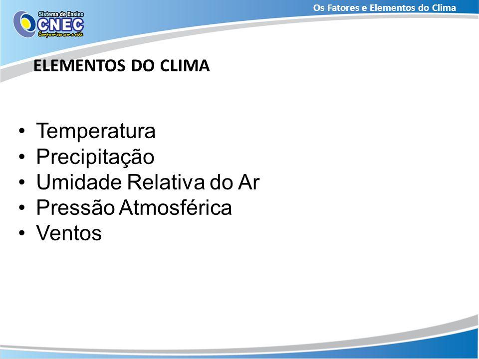 Os Fatores e Elementos do Clima ELEMENTOS DO CLIMA Temperatura Precipitação Umidade Relativa do Ar Pressão Atmosférica Ventos