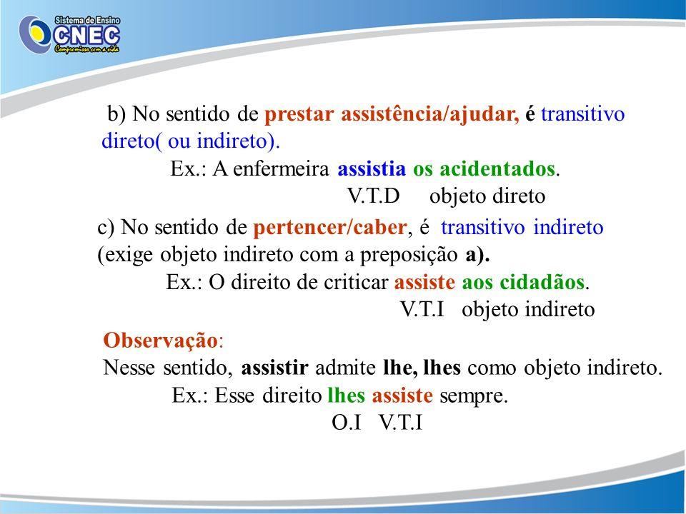c) No sentido de pertencer/caber, é transitivo indireto (exige objeto indireto com a preposição a).