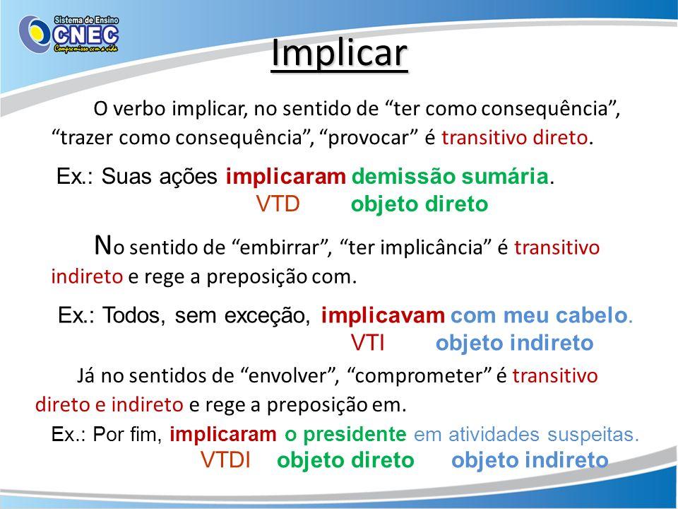 Implicar O verbo implicar, no sentido de ter como consequência, trazer como consequência, provocar é transitivo direto. Ex.: Suas ações implicaram dem