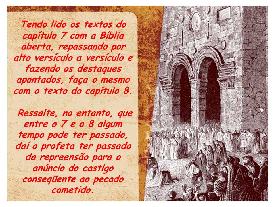 Tendo lido os textos do capítulo 7 com a Bíblia aberta, repassando por alto versículo a versículo e fazendo os destaques apontados, faça o mesmo com o