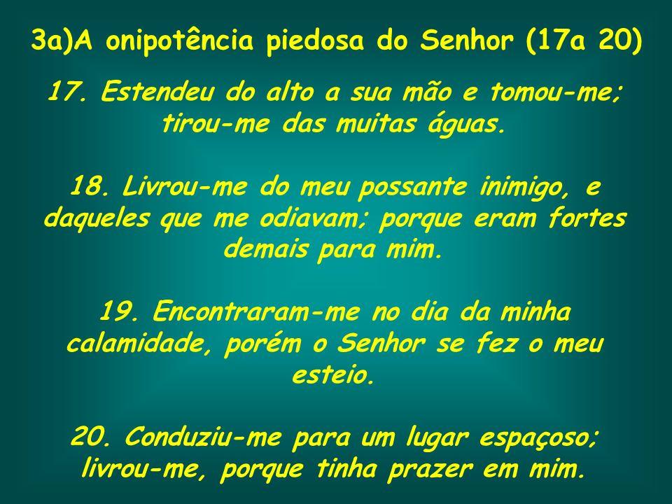3a)A onipotência piedosa do Senhor (17a 20) 17. Estendeu do alto a sua mão e tomou-me; tirou-me das muitas águas. 18. Livrou-me do meu possante inimig