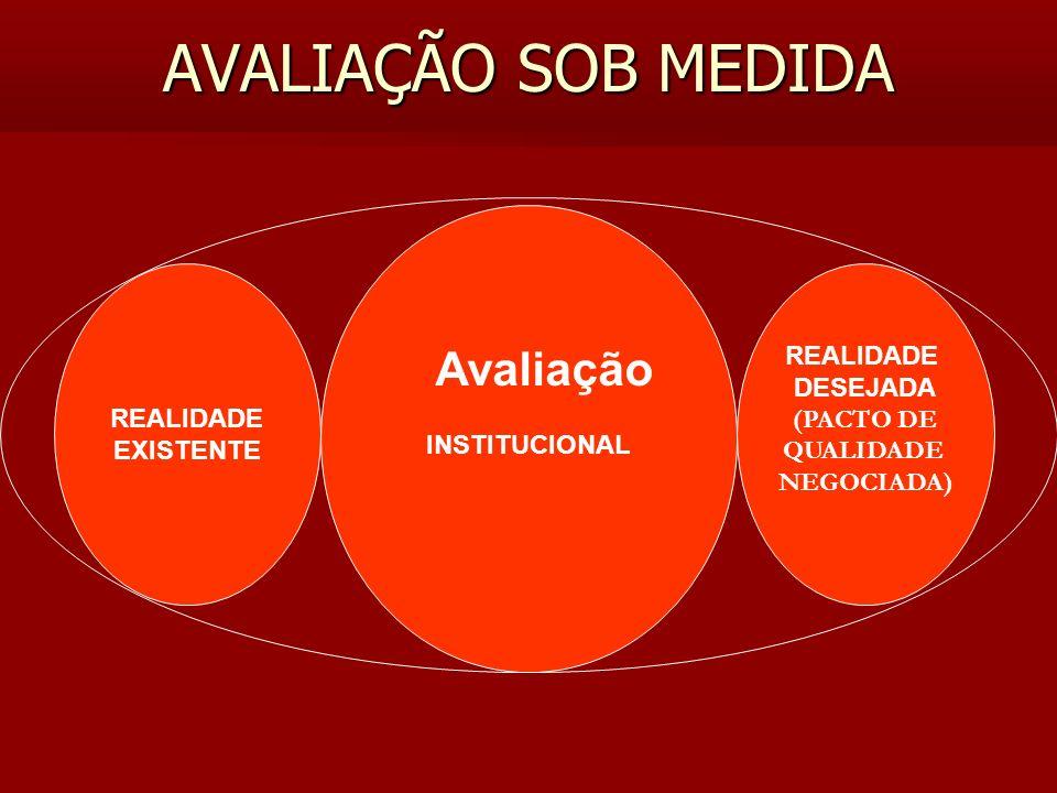 AVALIAÇÃO SOB MEDIDA INSTITUCIONAL REALIDADE DESEJADA (PACTO DE QUALIDADE NEGOCIADA) REALIDADE EXISTENTE Avaliação