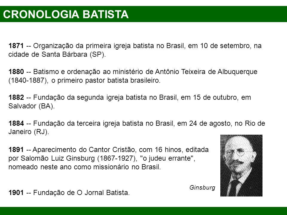 CRONOLOGIA BATISTA 1871 -- Organização da primeira igreja batista no Brasil, em 10 de setembro, na cidade de Santa Bárbara (SP). 1880 -- Batismo e ord