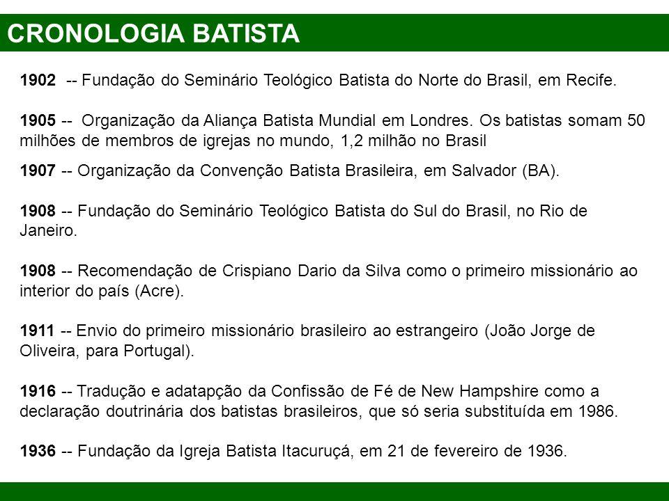 CRONOLOGIA BATISTA 1902 -- Fundação do Seminário Teológico Batista do Norte do Brasil, em Recife. 1905 -- Organização da Aliança Batista Mundial em Lo