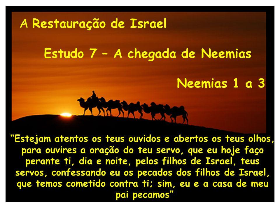 A Restauração de Israel Estudo 7 A chegada de Neemias Neemias 1.1-11 Parte I O abatimento de Neemias Ne 1.4 Tendo eu ouvido estas palavras, sentei-me e chorei, e lamentei por alguns dias….