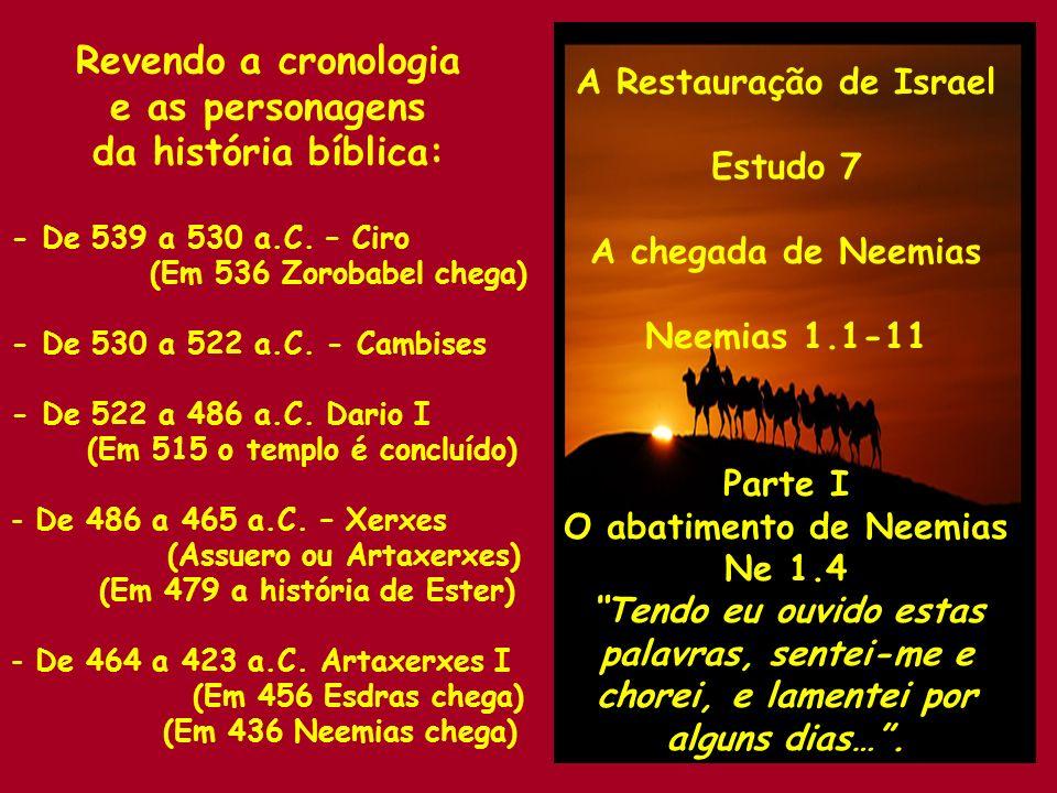 A Restauração de Israel Estudo 7 A chegada de Neemias Neemias 1.1-11 Parte II A reação de Neemias Ne 1.4,5 …e continuei a jejuar e orar perante o Deus do céu e disse: Ó Senhor, Deus do céu!...