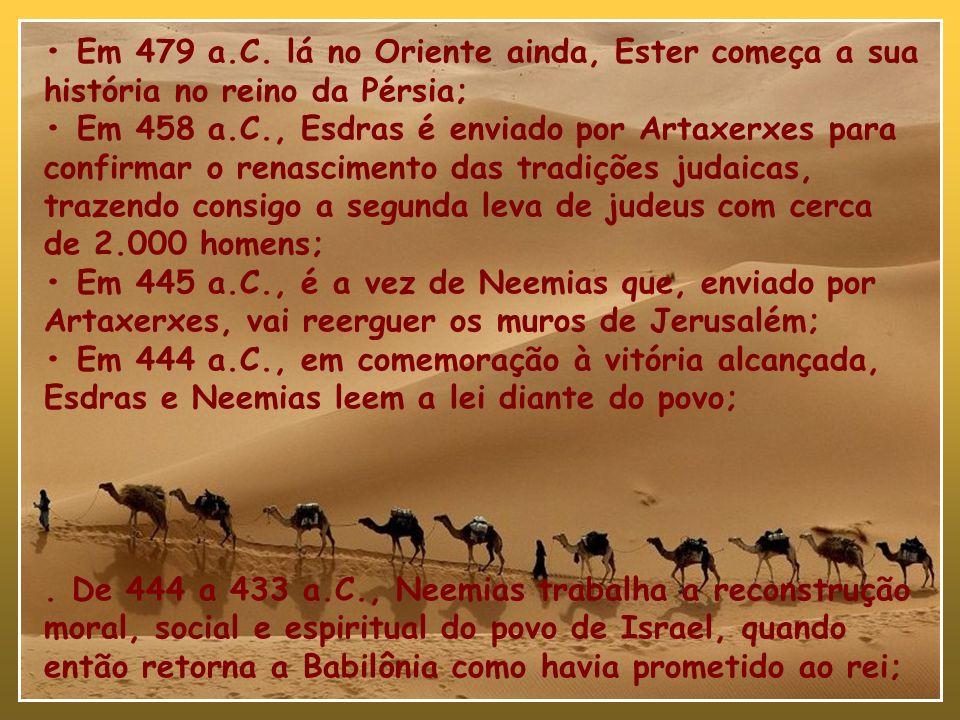 - Em 536 a.C. como resultado do decreto de Ciro, Zorobabel, por certo o sacerdote mais antigo, inicia o retorno com 42.360 hebreus; De 536 a em 521 a.