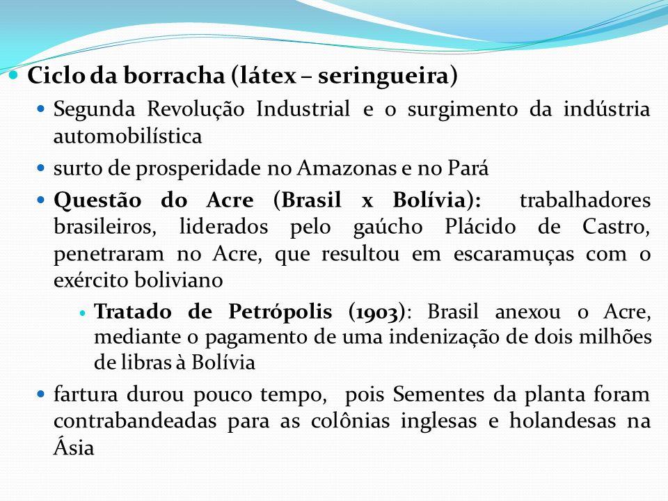 Ciclo da borracha (látex – seringueira) Segunda Revolução Industrial e o surgimento da indústria automobilística surto de prosperidade no Amazonas e n