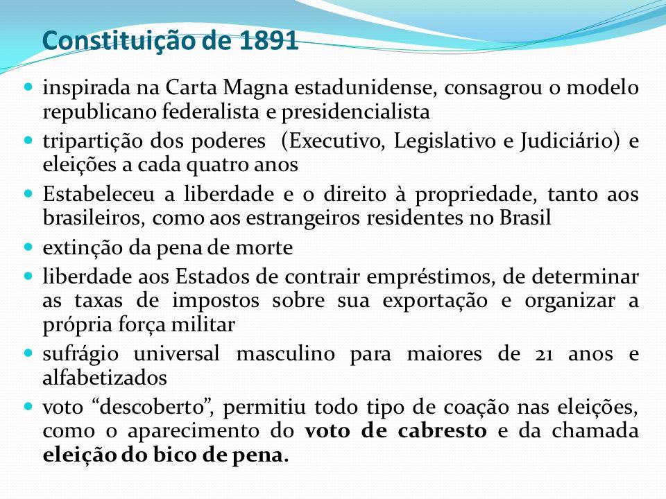 Constituição de 1891 inspirada na Carta Magna estadunidense, consagrou o modelo republicano federalista e presidencialista tripartição dos poderes (Ex