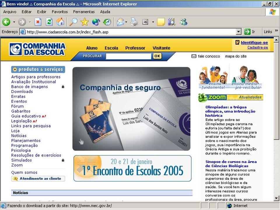 Website Companhia da Escola produtos & serviços www.ciadaescola.com.br Notícias sobre Educação Seleção de notícias relacionadas à Educação Boletim semanal com as principais notícias da semana