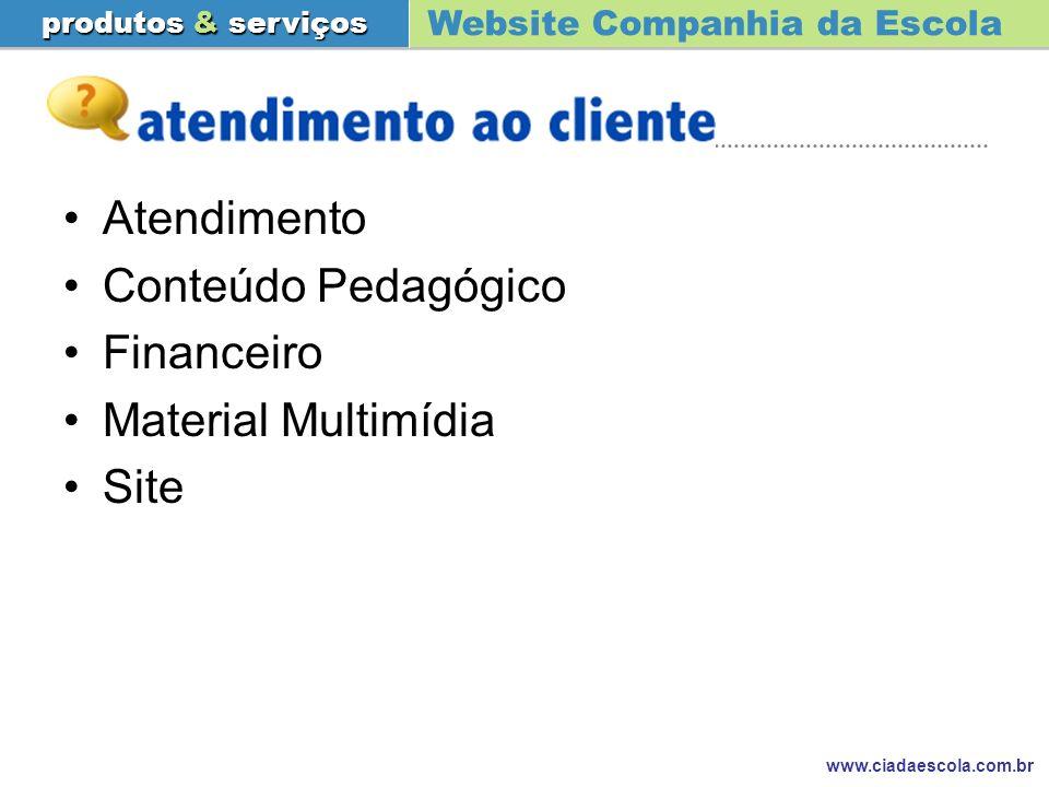Website Companhia da Escola produtos & serviços www.ciadaescola.com.br Atendimento Conteúdo Pedagógico Financeiro Material Multimídia Site