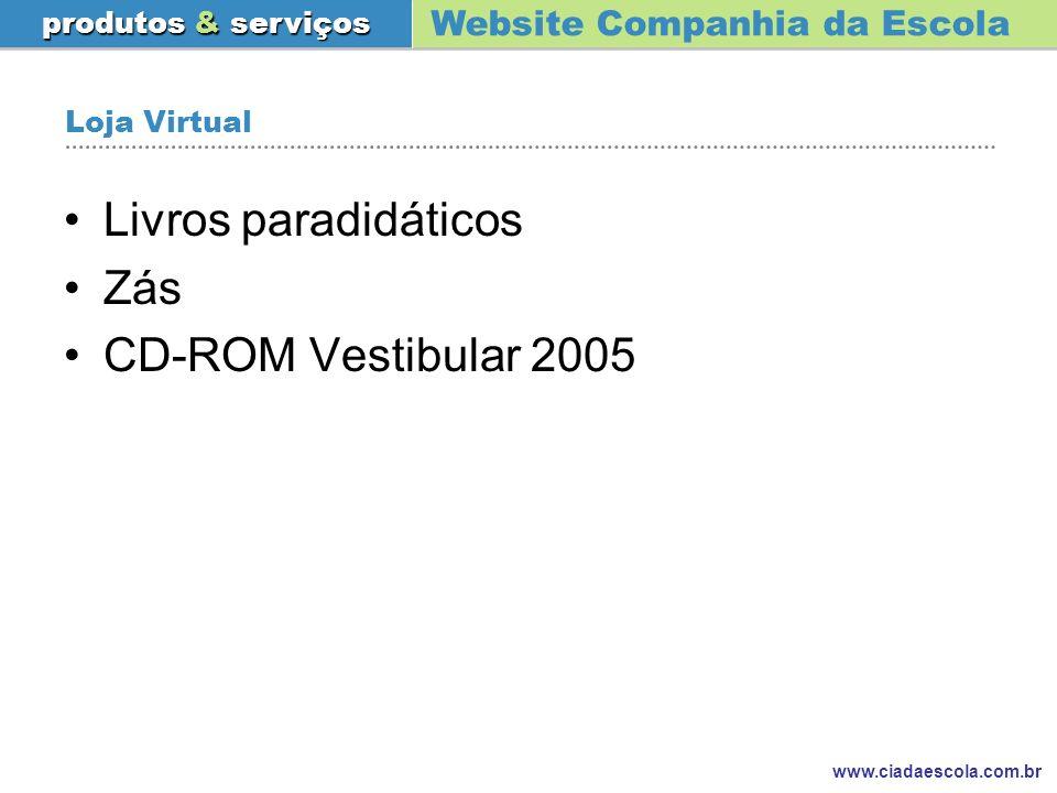 Website Companhia da Escola produtos & serviços www.ciadaescola.com.br Loja Virtual Livros paradidáticos Zás CD-ROM Vestibular 2005