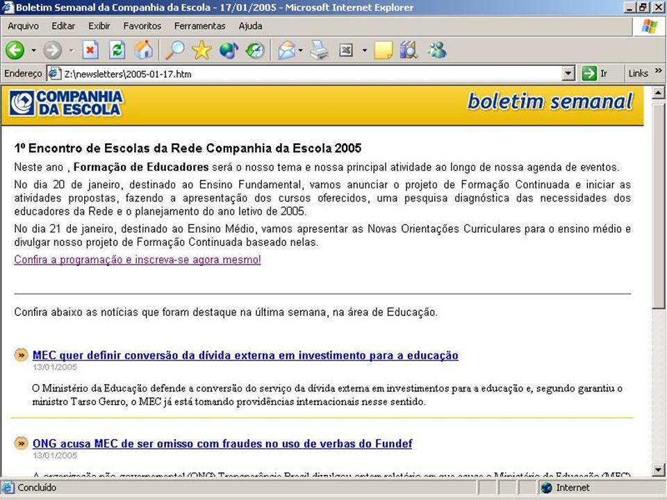 Website Companhia da Escola produtos & serviços www.ciadaescola.com.br Banco de Imagens Catálogo de imagens as quais o professor poderá usar no preparo de aulas.