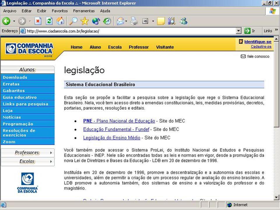 Website Companhia da Escola produtos & serviços www.ciadaescola.com.br Planejamentos Grade de programação dos assuntos por disciplina 04/02