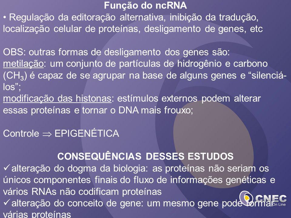 Função do ncRNA Regulação da editoração alternativa, inibição da tradução, localização celular de proteínas, desligamento de genes, etc OBS: outras fo