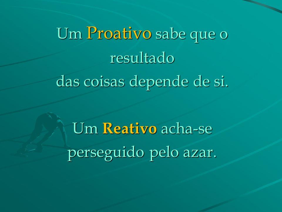 Um Proativo sabe que a adversidade é o melhor dos mestres. Um Reativo sente-se Um Reativo sente-se vítima perante uma adversidade.