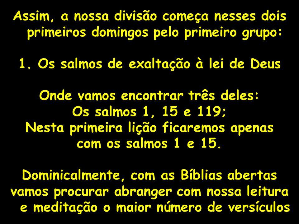Assim, a nossa divisão começa nesses dois primeiros domingos pelo primeiro grupo: 1. Os salmos de exaltação à lei de Deus Onde vamos encontrar três de