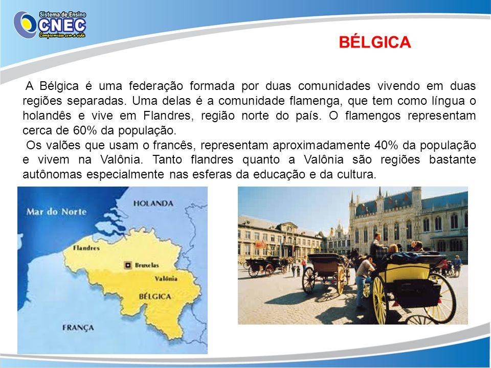 BÉLGICA A Bélgica é uma federação formada por duas comunidades vivendo em duas regiões separadas. Uma delas é a comunidade flamenga, que tem como líng