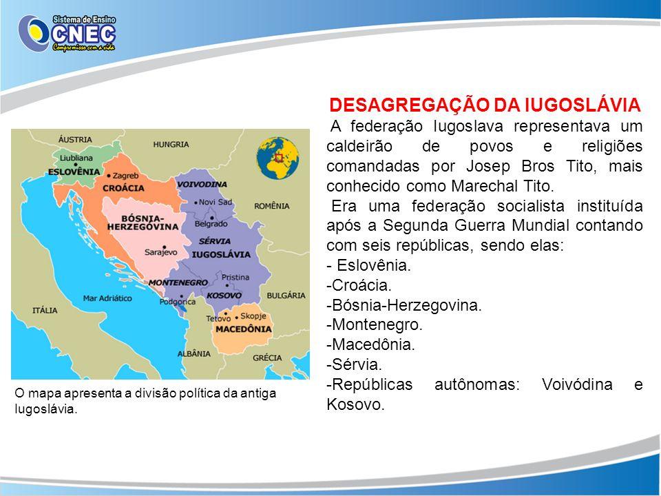 DESAGREGAÇÃO DA IUGOSLÁVIA A federação Iugoslava representava um caldeirão de povos e religiões comandadas por Josep Bros Tito, mais conhecido como Ma