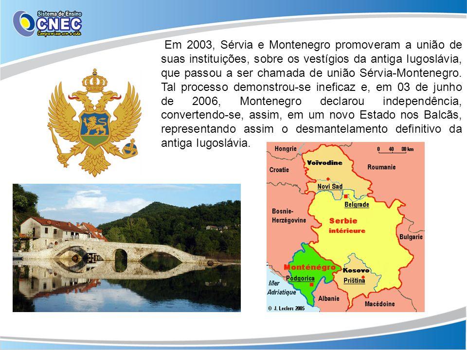 Em 2003, Sérvia e Montenegro promoveram a união de suas instituições, sobre os vestígios da antiga Iugoslávia, que passou a ser chamada de união Sérvi