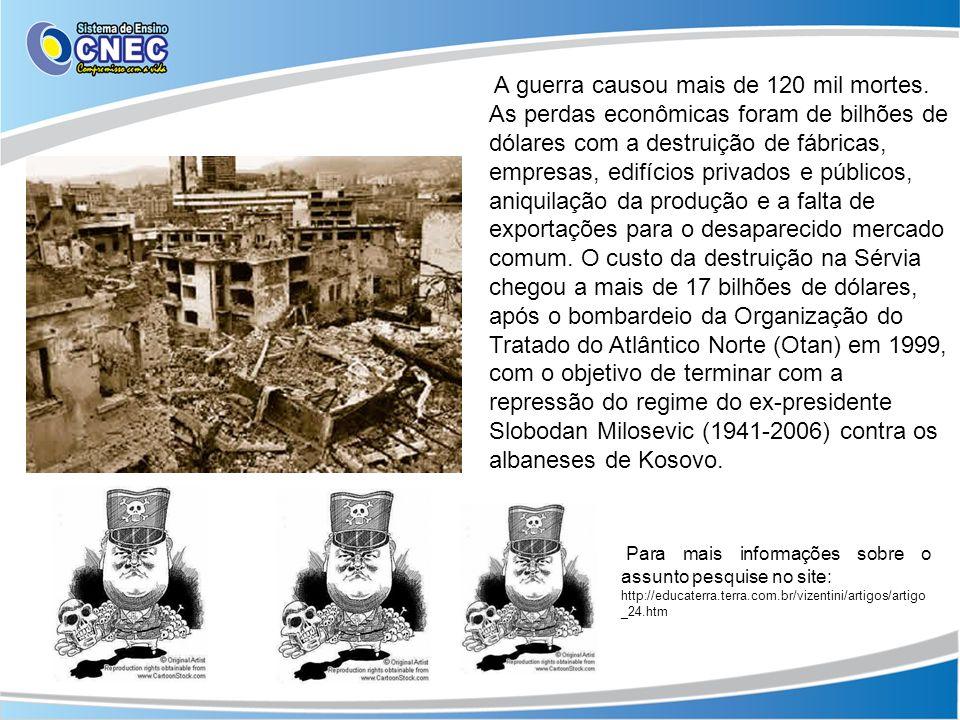 A guerra causou mais de 120 mil mortes. As perdas econômicas foram de bilhões de dólares com a destruição de fábricas, empresas, edifícios privados e