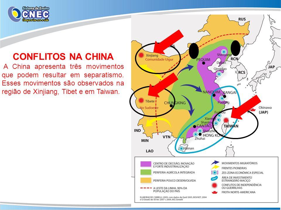 CONFLITOS NA CHINA A China apresenta três movimentos que podem resultar em separatismo. Esses movimentos são observados na região de Xinjiang, Tibet e