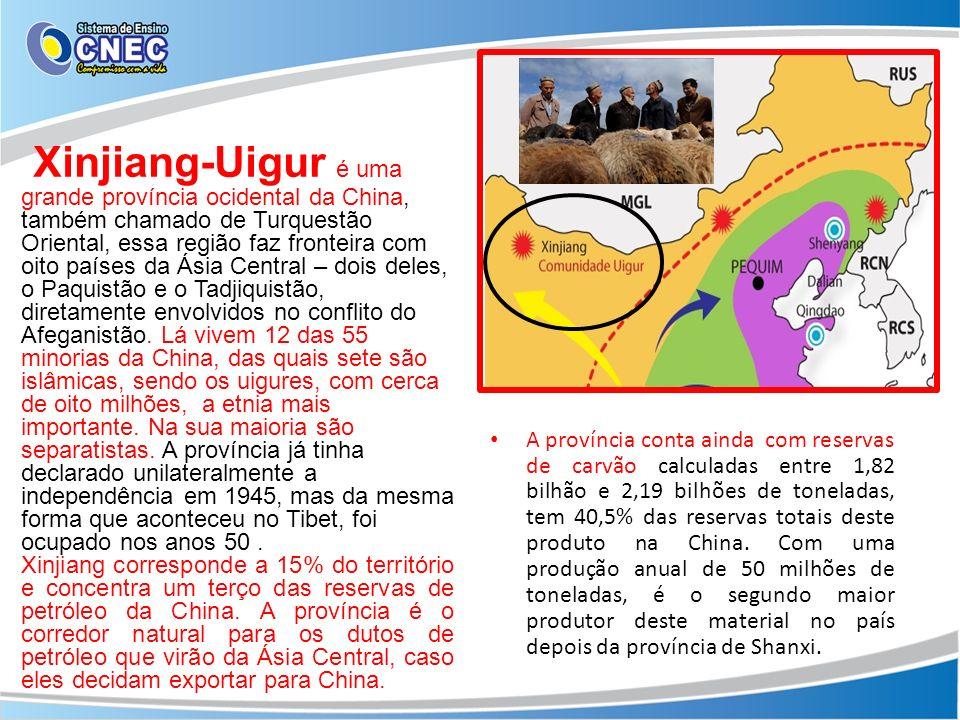 Xinjiang-Uigur é uma grande província ocidental da China, também chamado de Turquestão Oriental, essa região faz fronteira com oito países da Ásia Cen