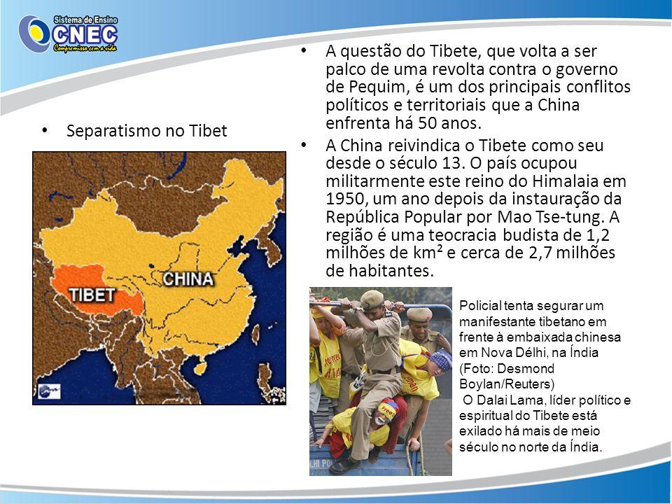 Separatismo no Tibet A questão do Tibete, que volta a ser palco de uma revolta contra o governo de Pequim, é um dos principais conflitos políticos e t