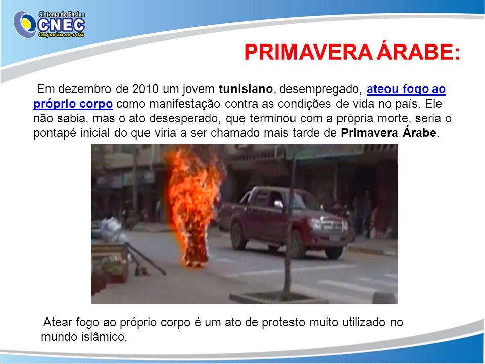 PRIMAVERA ÁRABE: Em dezembro de 2010 um jovem tunisiano, desempregado, ateou fogo ao próprio corpo como manifestação contra as condições de vida no pa