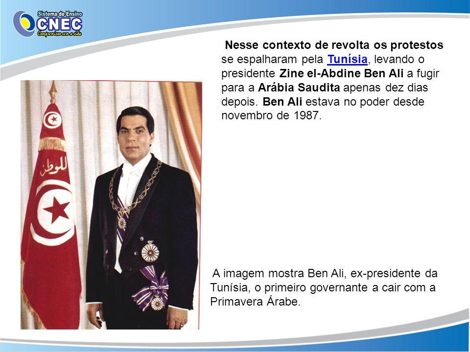 Nesse contexto de revolta os protestos se espalharam pela Tunísia, levando o presidente Zine el-Abdine Ben Ali a fugir para a Arábia Saudita apenas de