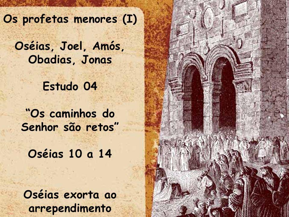 Os profetas menores (I) Oséias, Joel, Amós, Obadias, Jonas Estudo 04 Os caminhos do Senhor são retos Oséias 10 a 14 Oséias exorta ao arrependimento