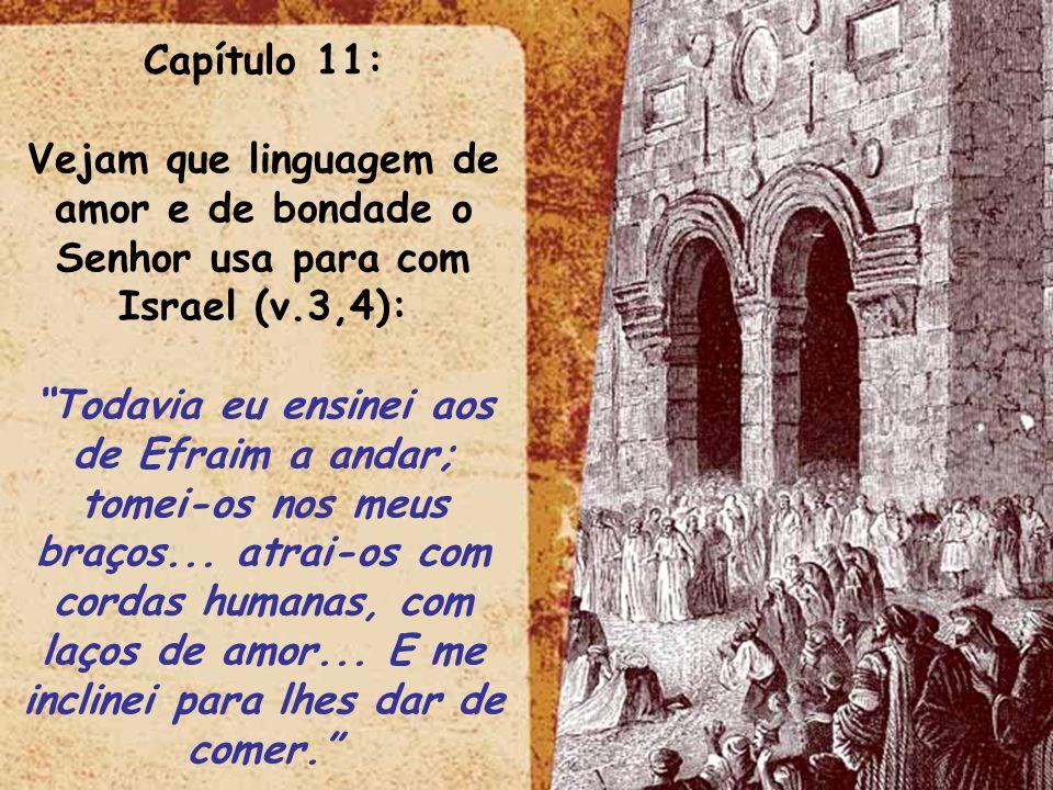 ltid Capítulo 11: Vejam que linguagem de amor e de bondade o Senhor usa para com Israel (v.3,4): Todavia eu ensinei aos de Efraim a andar; tomei-os no