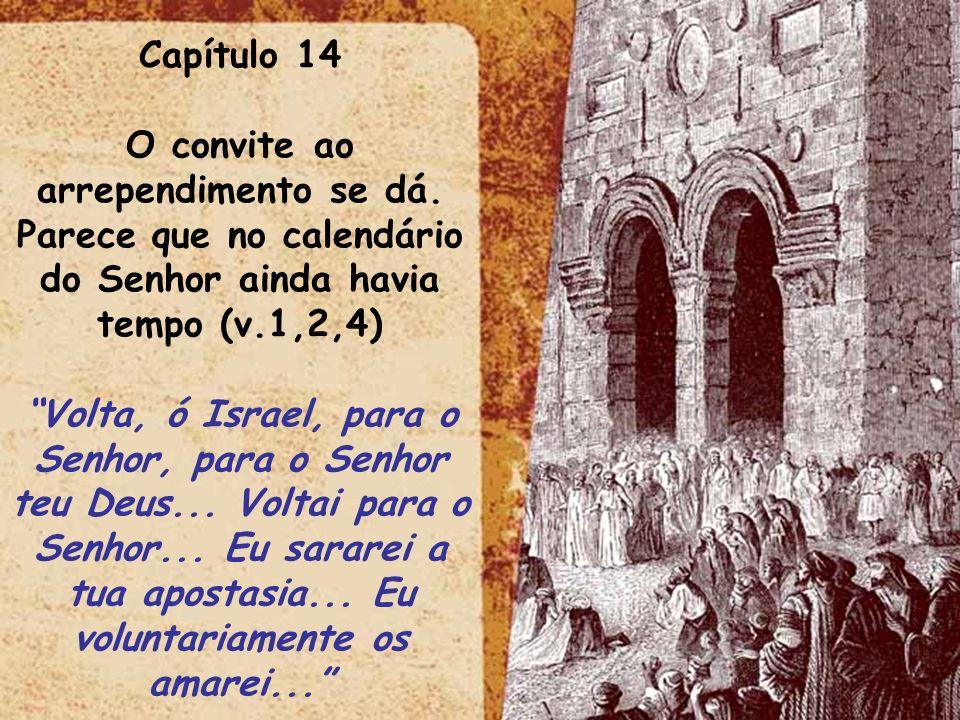 ltid Capítulo 14 O convite ao arrependimento se dá. Parece que no calendário do Senhor ainda havia tempo (v.1,2,4) Volta, ó Israel, para o Senhor, par